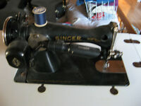 Antique Singer sewing machine and built-in table/desk