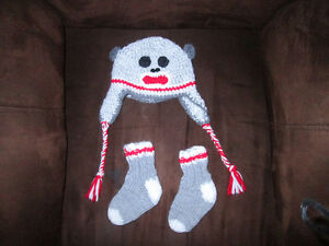 Sock Monkey knitted hat and sock set