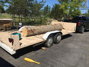 Flatbed dual axel trailer with 3000lbs. Winch