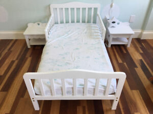 Toddler bed, end tables and mattress