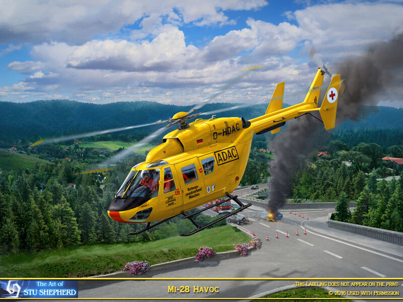 ART PRINT: Bk-117 Rescue helicopter -  by Shepherd