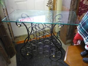 METAL WINE RACK/GLASS TOP TABLE