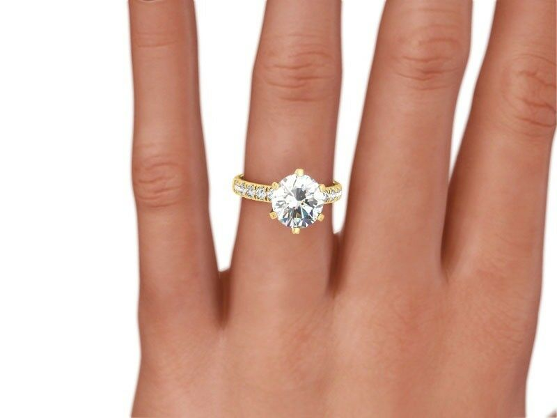 2 CT ROUND  H/VS2  DIAMOND  NATURAL ENGAGEMENT RING  YELLOW GOLD XMAS