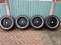"Calibre Askari 18"" 5x112 black and chrome alloy wheels Audi VW skoda seat vauxhall bbs 5x110"