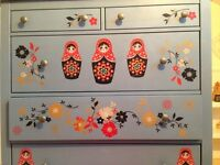 Blue IKEA Hemnes chest of drawers, customised