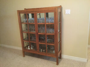 Antique, solid oak, china cabinet