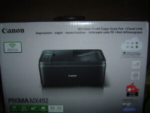 New in box Canon PIXMA MX492 Printer $60 with STANDARD INK cart