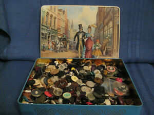 Vintage Old Toffee Tin full of Vintage Sewing Buttons