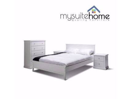 MEL Dallas Queen/Double Timber White Bed Frame