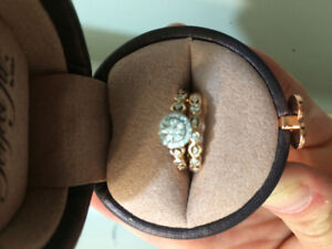 10 K size 4.5 rose gold wedding band and engagement ring