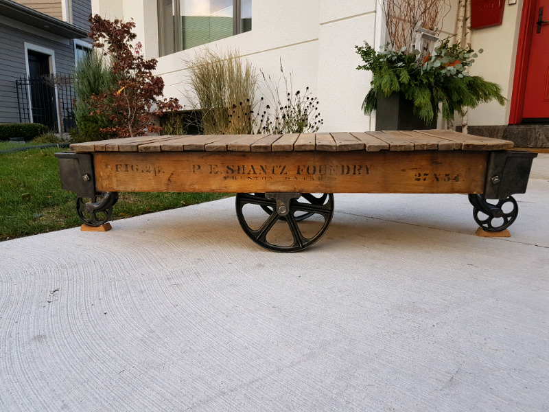 Vintage Factory Cart Coffee Tables For Sale Coffee