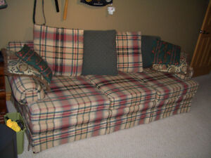 PLAID COUCH with seven matching cushions