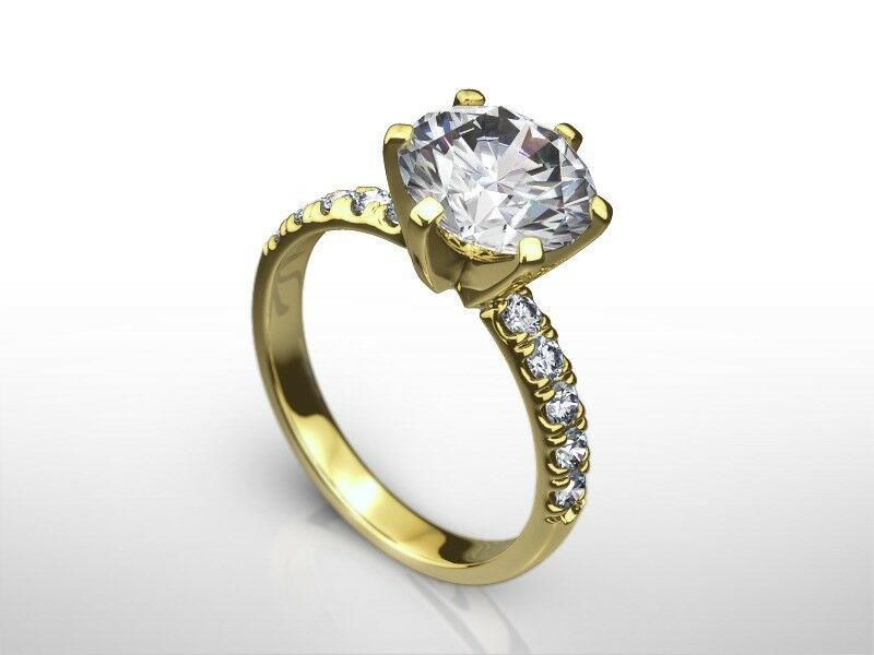 2 Ct Round  F/si2  Diamond  Natural Engagement Ring  Yellow Gold Xmas
