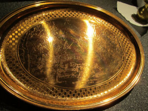 Vintage copper tray. Sleighing on Sunday-Currier & Ives.