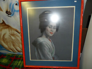 Japanese Geisha by M Hall Original $200. Not a print. Prince George British Columbia image 1