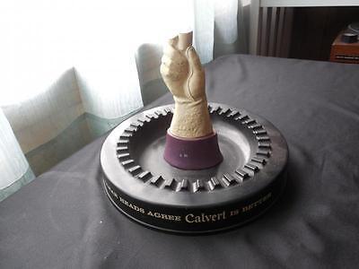 Vintage Calvert Whiskey Large Figural Cast Metal Hand Advertising Ashtray