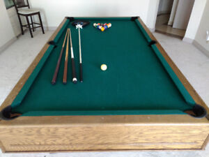 Pool table with cues, rack,balls, 4x8