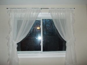 kitchen window sheers with curtain rod