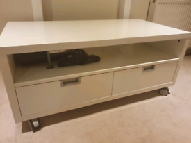 Large white gloss TV unit and storage