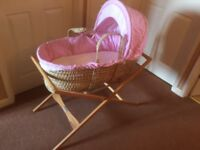 Moses Basket with stand and brand new mattress and assortment of sheets