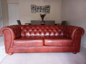 Leather Chesterfield Sofa 3 Seater Cambridge Maroon/Red John Lewis