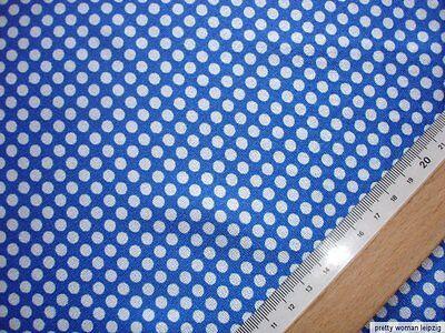 1 Lfm Satin 3,03€/m²  blau, weiß gepunktet DJ77