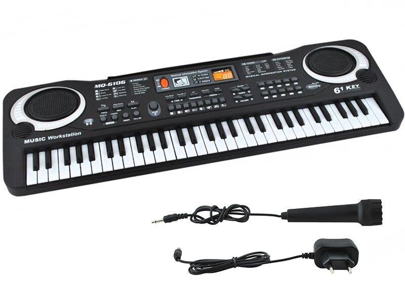 Einsteiger Keyboard Mikrofon 61 Tasten Netzteil Lernfunktion  4687