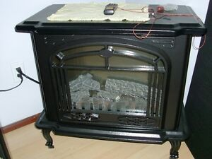 thermastatically controlled electric fireplace with remote