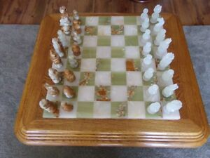Beautiful Marble Chess Set and Oak Play / Display Table