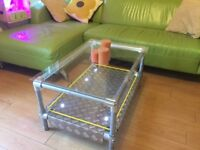 Bespoke Hand Made Glass Top Coffee Table, LED Lights, Metal, Rope. Cafe, Hotel, Restaurant. Custom