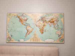 1935 Style National Geographic World Map