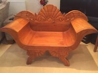 Oriental hand carved wooden chair
