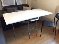 IKEA white drop leaf dining table, seats 6