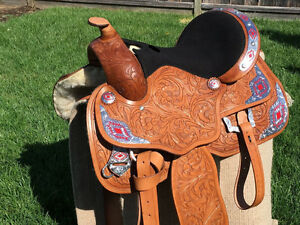 """15"""" 16"""" 17"""" Western Silver Show Saddle Light TAN Leather"""