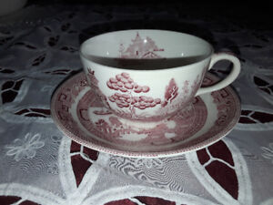 CUP AND SAUCER TRANSFERWARE, WILLOW RED, JOHNSON BROS.