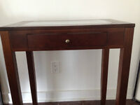 Beautiful Tall Console Table Modern Wood Frosted Glass