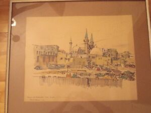 "Peinture R.D. Wilson 20"" x 24"" ink and watercolour of Israel"