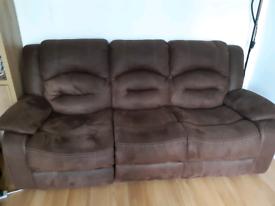 Set if 2 brown reclining sofas