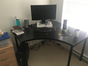 IKEA corner computer desk and leather chair