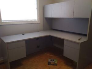White L shape  Office Desk with 2 Drawers