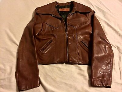 50S NOS HORSEHIDE DEADSTOCK BROWN LEATHER JKT.GREAT COLOR,LEATHER,COND.SM.34-36