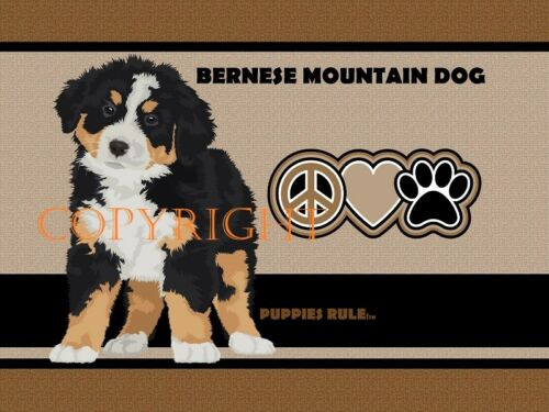 Bernese Mountain Dog Puppies Rule Peace Love Paws Door Mat Doormat Floor Rug