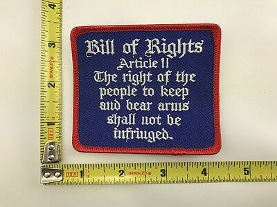 Bill Of Rights Patch  Right To Bear Arms Gun 2Nd Amendment Embroidered Vest New