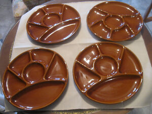 ATTRACTIVE SET [4] VINTAGE SECTIONED SERVING.NIBBLE-FOOD TRAYS
