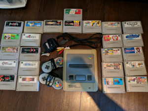 Super famicom console + 24 games