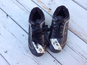 Girls black soccer shoes, size 10