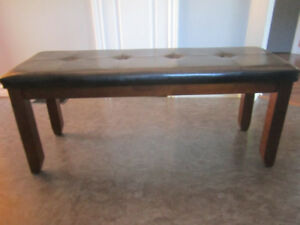 Faux Black Leather / Cherry Wood Bench