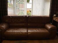 Corner sofa and three piece suite leather