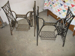 TWO CAST IRON SINGER SEWING MACHINE BASES, GREAT FOR TABLES ETC.