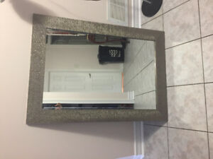 Glass mirror and standing lamp in good condition